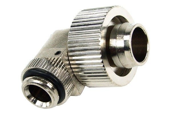 19/13mm compression fitting 90° revolvable G1/4 - compact - silver nickel
