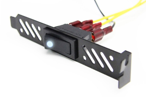 ModMyToys Premiun Black Vented PCI Bracket w/ LED Rocker Switch - Blue