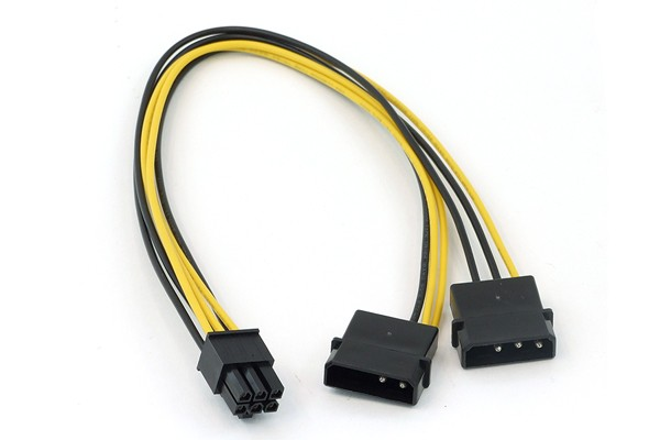 InLine® PCI-E power adaptor, 2x4 Pin Molex -> 6pol for PCIe (PCI-Express)
