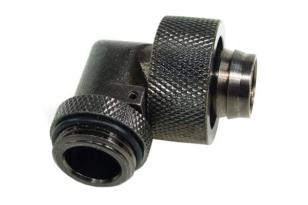 19/13mm compression fitting 90° angled G3/8 - knurled - black nickel plated
