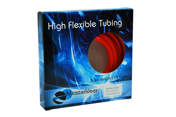 "Masterkleer tubing PVC 13/10mm (3/8""ID) UV-reactive dark red 3,3m (10ft) ""Retail Package"""