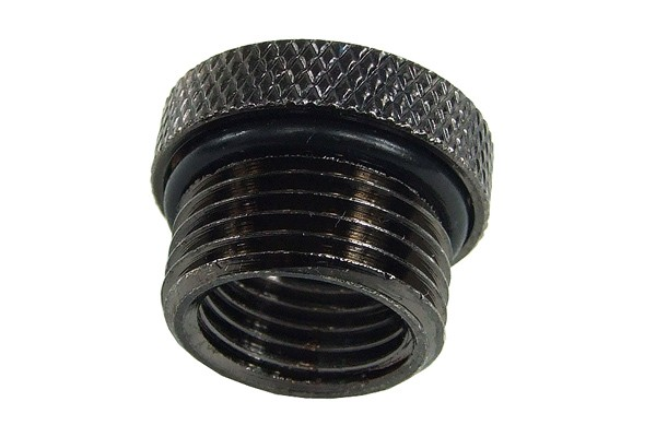 reducing socket G1/4 to G3/8 outside thread with O-Ring - knurled - black nickel plated