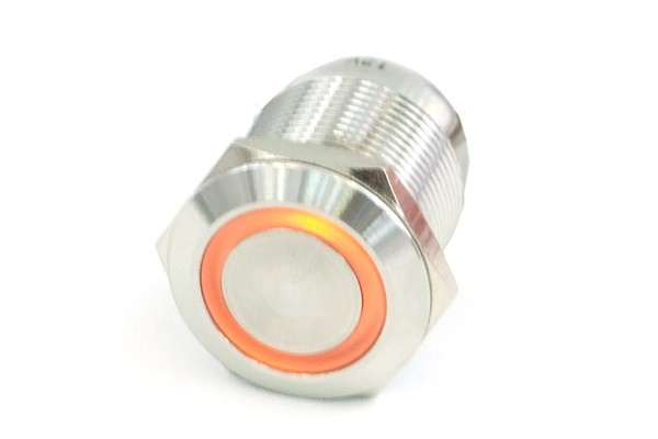 Phobya push-button vandalism-proof / bell push 19mm stainless steel, orange ring lighting 6pin