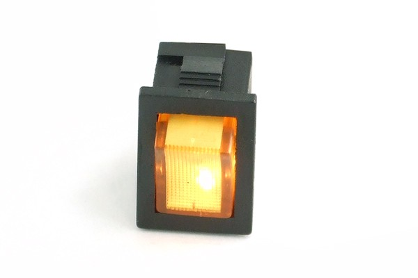 Phobya rectangular toggle switch - yellow lighting - unipolar ON/OFF black (3-Pin)