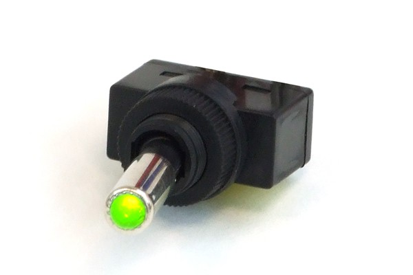 Phobya toggle switch - LED green - unipolar ON/OFF black (3pin)