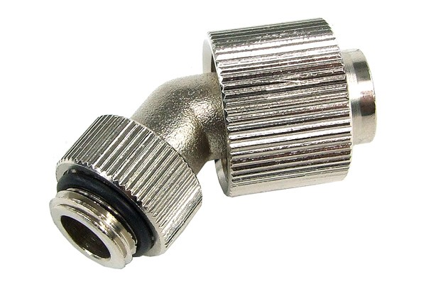 16/13mm compression fitting 45° revolvable G1/4 - knurled - silver nickel