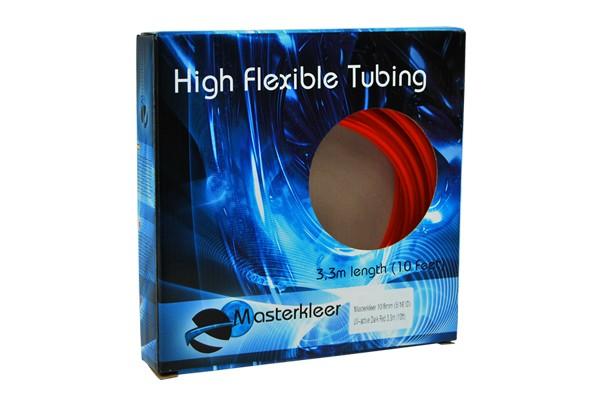 "Masterkleer tubing PVC 10/8mm (5/16""ID) UV-reactive dark red 3,3m (10ft) ""Retail Package"""