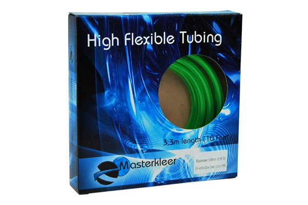 "Masterkleer tubing PVC 10/8mm (5/16""ID) UV-reactive dark green 3,3m (10ft) ""Retail Package"""