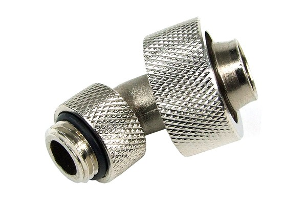 19/13mm compression fitting 45° revolvable G1/4 - knurled - silver nickel