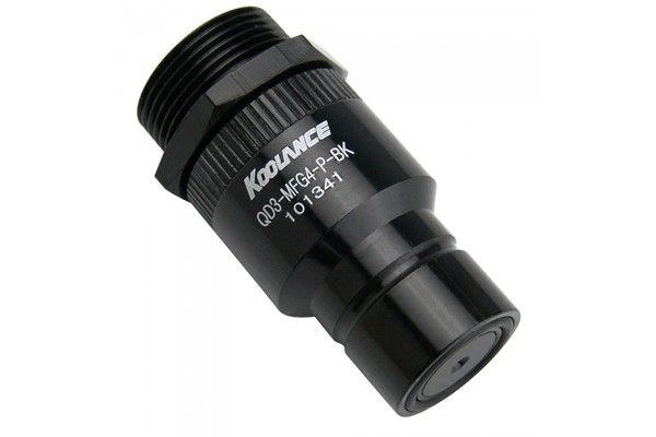 "Koolance quick release connector G1/4"" inner thread to male (High Flow) incl. bulkhead coupling - QD3 black"