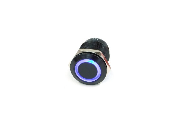 Phobya vandalism switch 19mm aluminum black, RGB ring illuminated 7pin (second choice)