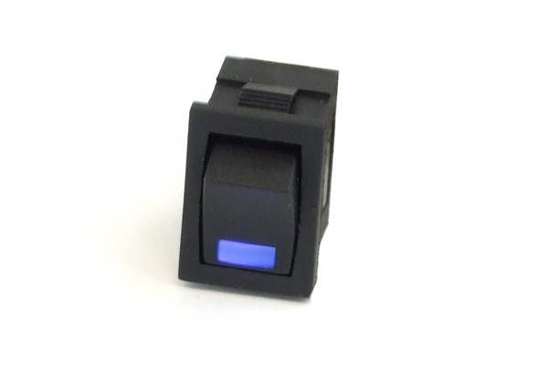 Phobya rectangular toggle switch - LED blue - unipolar ON/OFF black (3-Pin)