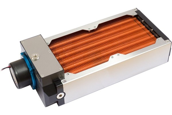 Aquacomputer airplex modularity system 240 mm, copper fins, D5 pump, stainless steel side panels