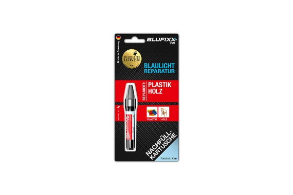 BLUFIXX Light curing repair gel - Complete Kit for Metal, Glas & Stone - Refill Stick Clear