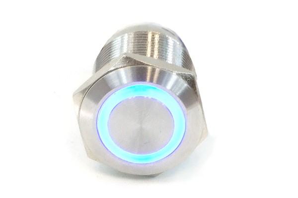 Phobya push-button vandalism-proof / bell push 19mm stainless steel, blue ring lighting 6pin