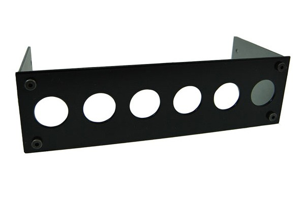 Phobya Front plate for 6x vandalism-proof push-buttons 16mm – black
