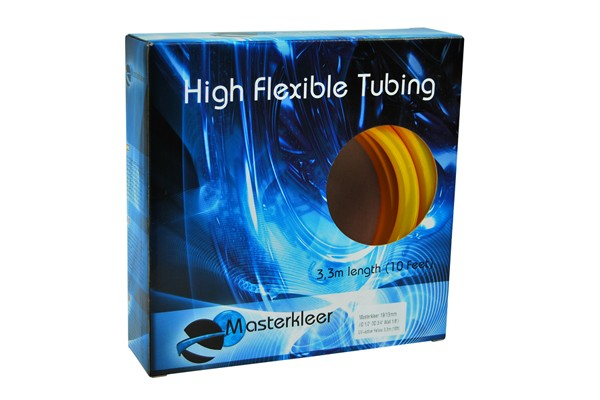 "Masterkleer tubing PVC 19/13mm (1/2""ID) UV-reactive yellow 3,3m (10ft) ""Retail Package"""