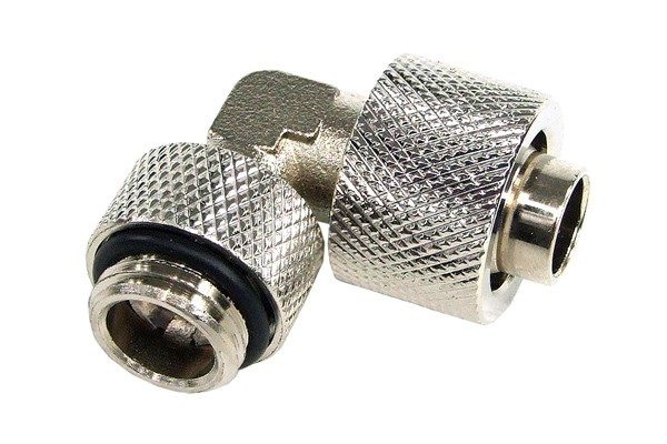 13/10mm (10x1,5mm) compression fitting 90° revolvable G1/4ö - knurling – silver nickel