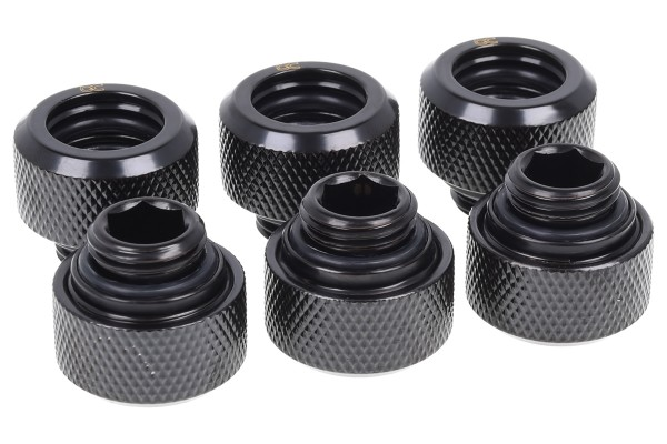 Alphacool Eiszapfen 13mm HardTube compression fitting G1/4 for plexi- brass tubes (rigid or hard tubes) - knurled - deep black sixpack