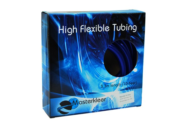 "Masterkleer tubing PVC 16/10mm (3/8""ID) UV-reactive blue 3,3m (10ft) ""Retail Package"""