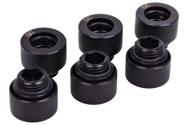 Alphacool HT 12mm HardTube compression fitting G1/4 - knurled - deep black sixpack