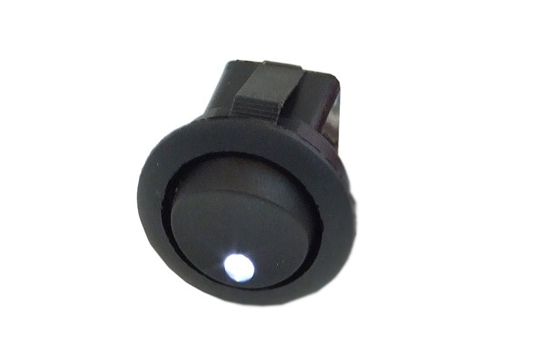 Phobya round toggle switch - LED white - unipolar ON/OFF black (3-Pin)