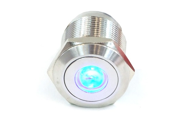 Phobya push-button vandalism-proof / bell push 19mm stainless steel, blue spot lighting 6pin
