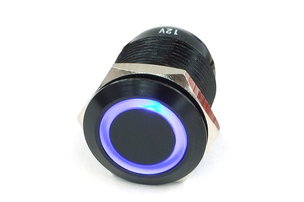 Phobya push-button vandalism-proof / bell push 19mm alu black, blue ring lighting 6pin