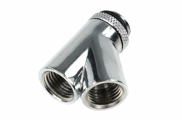 Alphacool HF Y-45° connector - G1/4 revolvable - 2x inner 1x outer thread - chrome