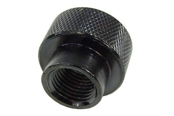 reducing socket G1/2 to G1/4 inner thread - knurled - black nickel plated