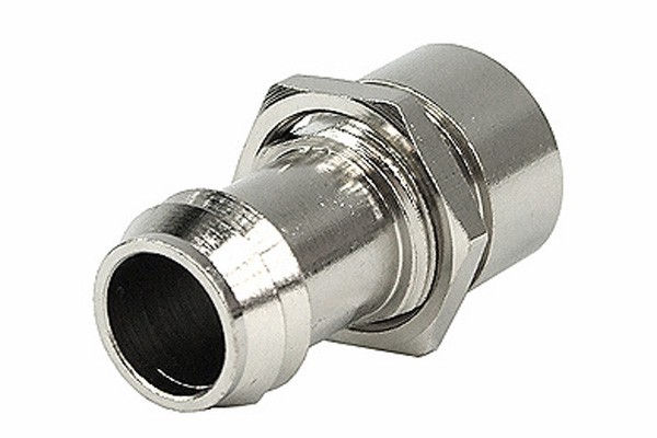 Schott fitting G1/4 IG to 13mm hose barb - silver nickel