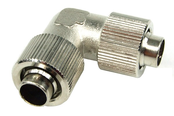 13/10mm (10x1,5mm) L hose connector – compact – silver nickel plated
