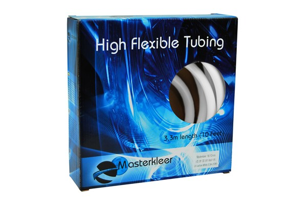 "Masterkleer tubing PVC 16/10mm (3/8""ID) UV-reactive white 3,3m (10ft) ""Retail Package"""