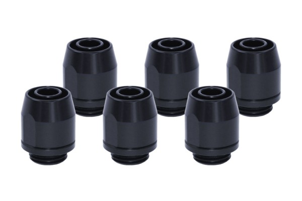 Alphacool HF compression fitting TPV metall - straight - black - 6pcs kit