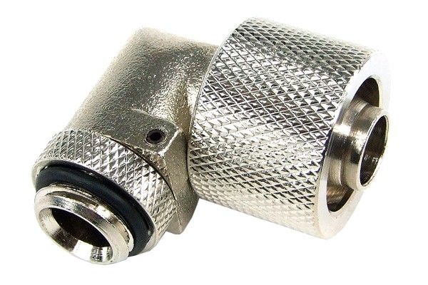 16/10mm compression fitting 90° revolvable G1/4 - knurled - silver nickel