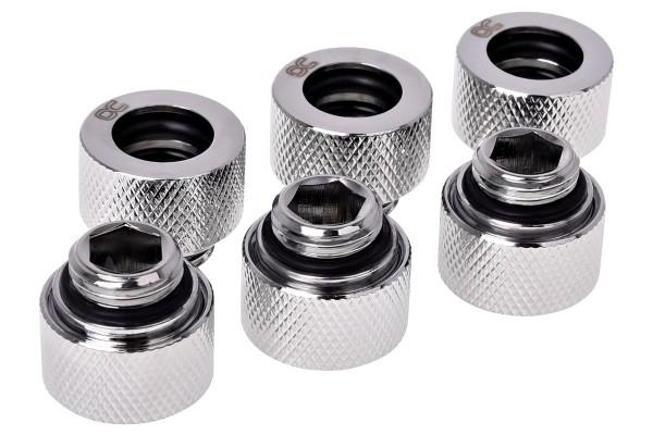 Alphacool HT 12mm HardTube compression fitting G1/4 for carbon tubes (rigid or hard tubes) - knurled - chrome sixpack