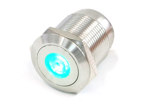 Phobya push-button vandalism-proof / bell push 16mm stainless steel, green dot lighting 5pin