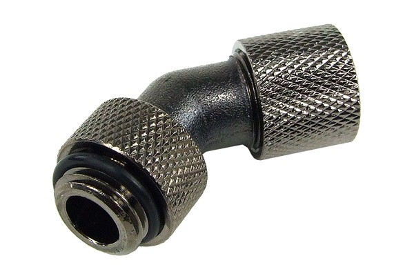 10/8mm compression fitting 45° revolvable G1/4 - knurled - black nickel