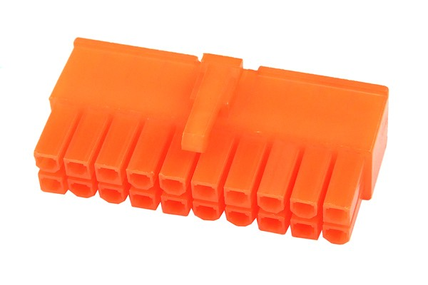 mod/smart ATX Power Connector 20Pin plug - UV-reactive brite orange