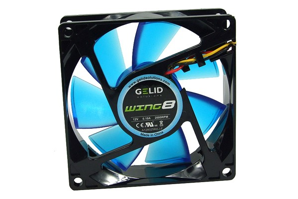 GELID Gamer Fan-2000 RPM 21 dBA WING 8 UV BLUE ( 80x80x25mm )