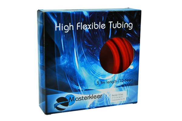 "Masterkleer tubing PVC 19/13mm (1/2""ID) UV-reactive dark red 3,3m (10ft) ""Retail Package"""
