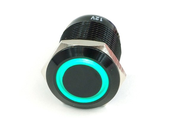 Phobya push-button vandalism-proof / bell push 19mm aluminium black, green lighting, with screw-on contacts