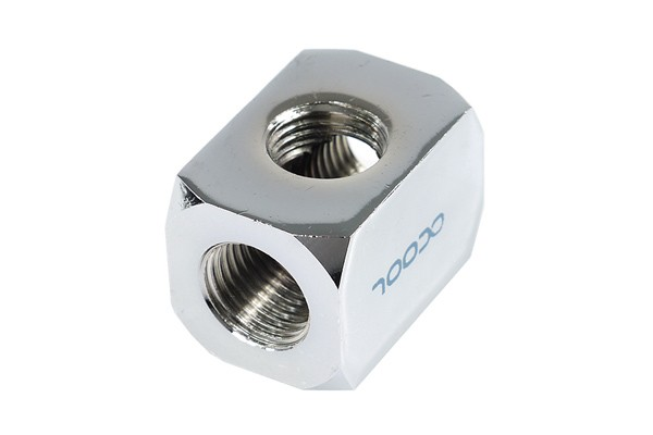 Alphacool HF connection terminal TEE T-piece round, G1/4 - chrome