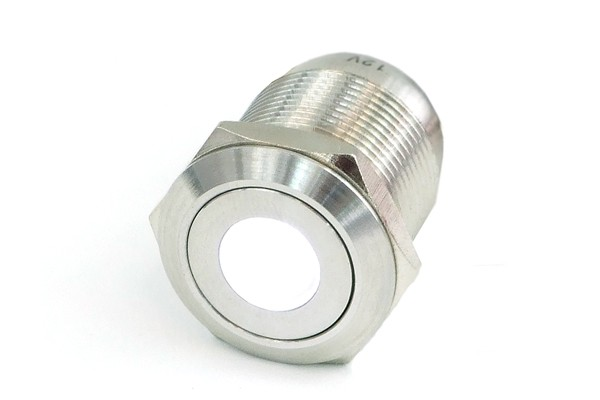 Phobya push-button vandalism-proof / bell push 16mm stainless steel, white dot lighting 5pin