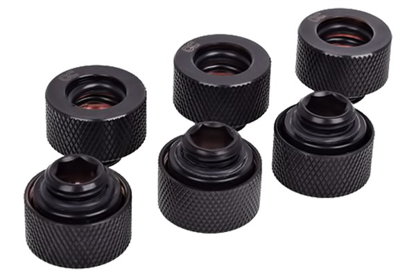Alphacool HT 13mm HardTube compression fitting G1/4 for plexi- brass tubes (rigid or hard tubes) - knurled - deep black sixpack