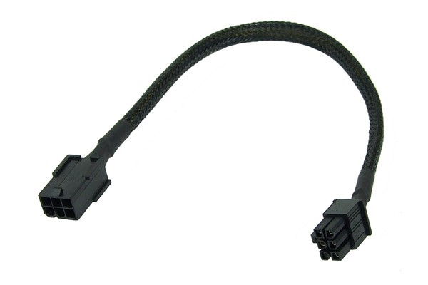 Phobya 6Pin PSU extension 30cm - black